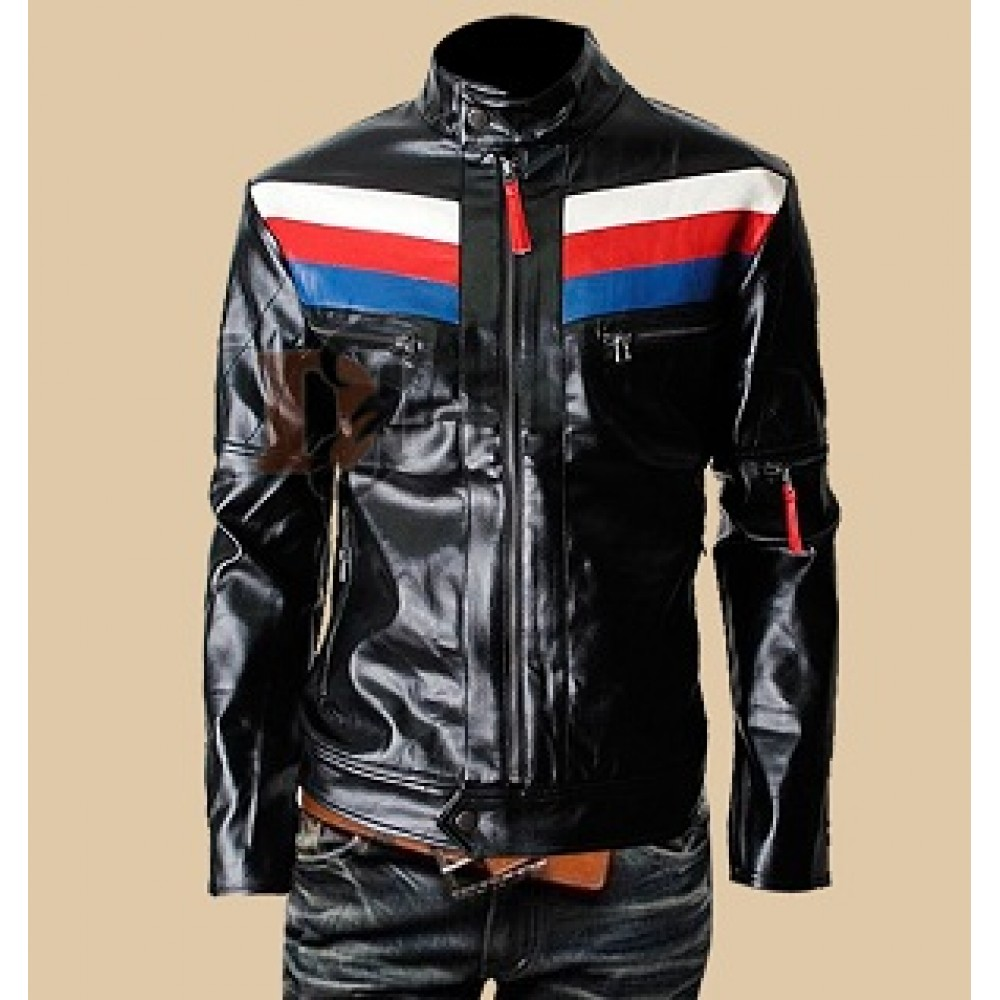 Mens Casual Rider Slim Fit Black Leather Jacket | Black Jackets