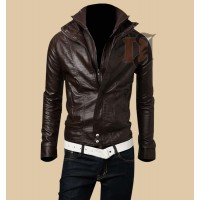 Mens Slim Fit Leather Jacket | Double Collar Zip  Leather  Jacket