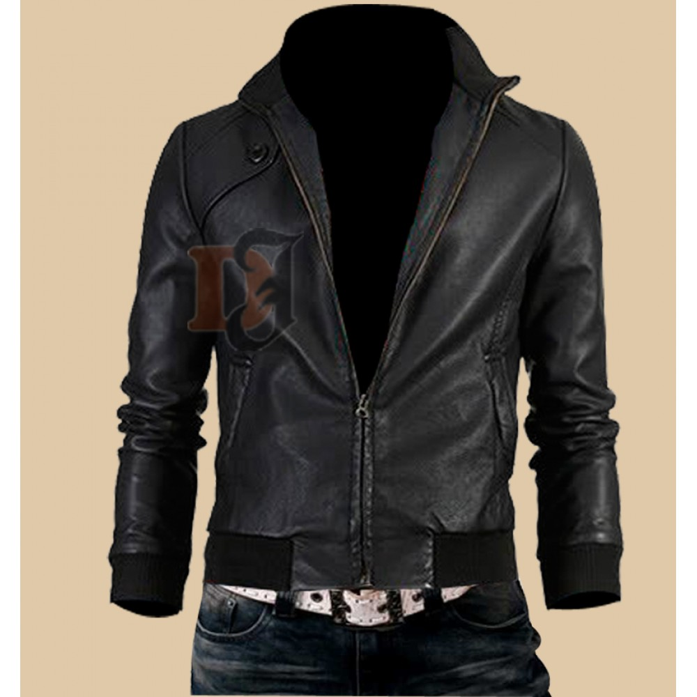 Mens Trendy Vintage Slim Fit Black Leather Jacket | Black Jackets