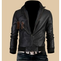 Mens Trendy Vintage Slim Fit Black Leather Jacket | Black Jackets