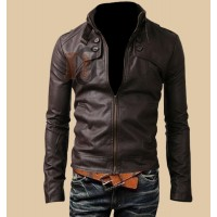 Slim Fit Button Pocket Brown Jacket | Brown Leather Jackets