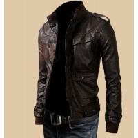 Mens Rocker Slim Fit Brown Genuine Leather Jacket | Dark Brown Jackets