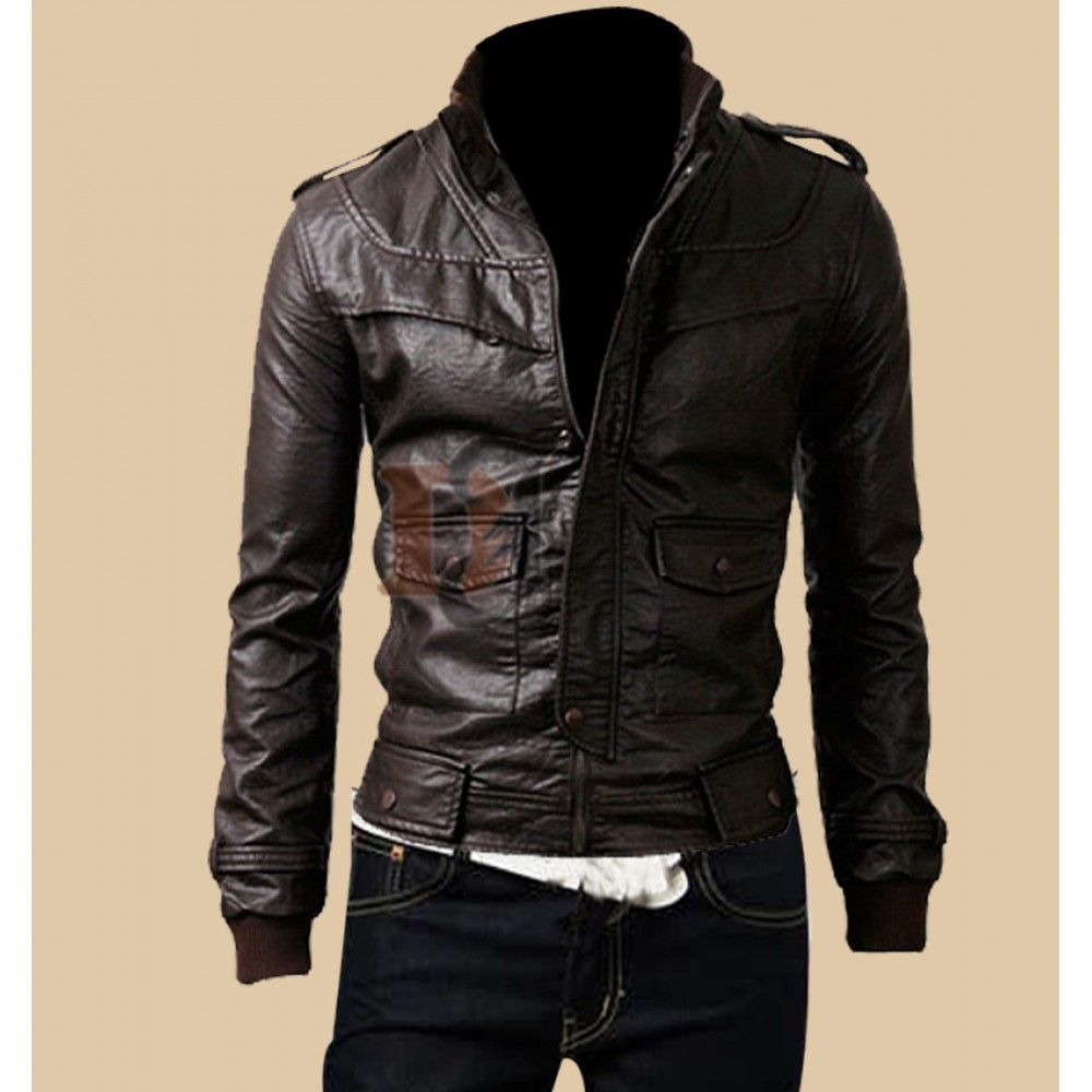 863da8413 Mens Rocker Slim Fit Brown Genuine Leather Jacket | Dark Brown Jackets