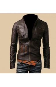 Mens Zip Pocket Slim Fit Dark Brown Leather Jacket | Dark Brown Jackets