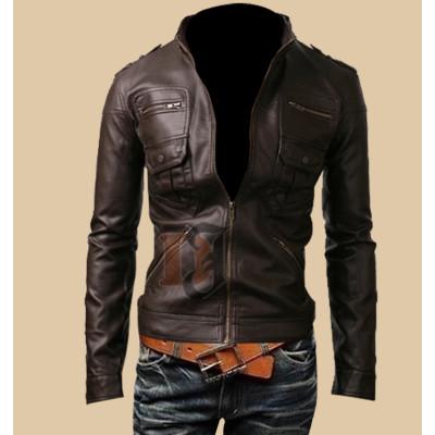 Mens Zip Pocket Slim Fit Dark Brown Leather Jacket | Dark Brown Jackets