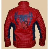 Disney Spiderman Men's Red and Blue Leather Jacket | Costume Jackets
