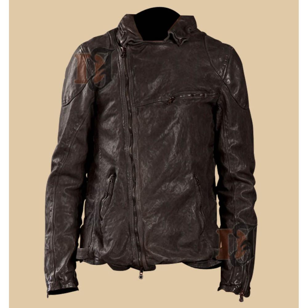 Stunning Dark Brown Distressed Leather Jacket | Apparel For Men