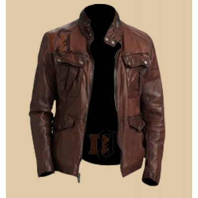 Stylish Big Front Pockets Distressed Brown Leather | Dark Brown Jackets
