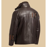 Timeless Dark Brown Zip Style Distressed Leather Jacket For Men