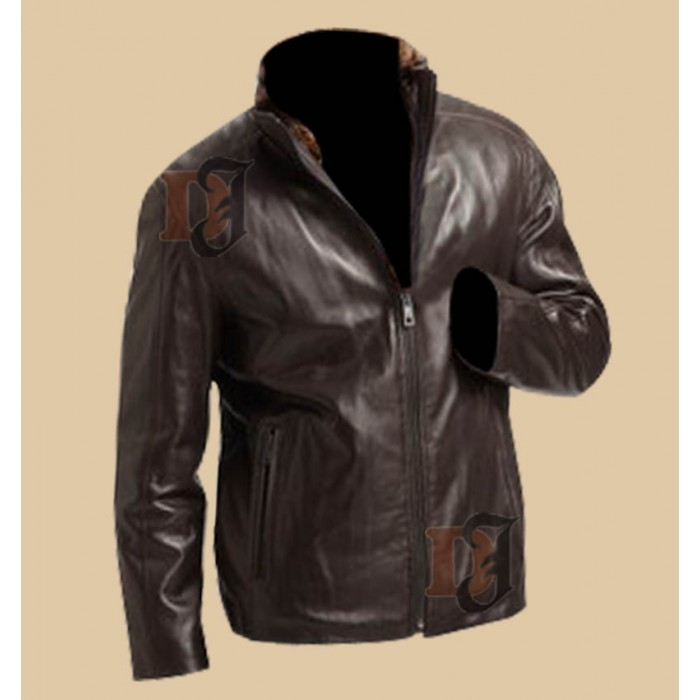 715bb55b5 Buy Timeless Dark Brown Zip Style Distressed Leather Jacket For Men