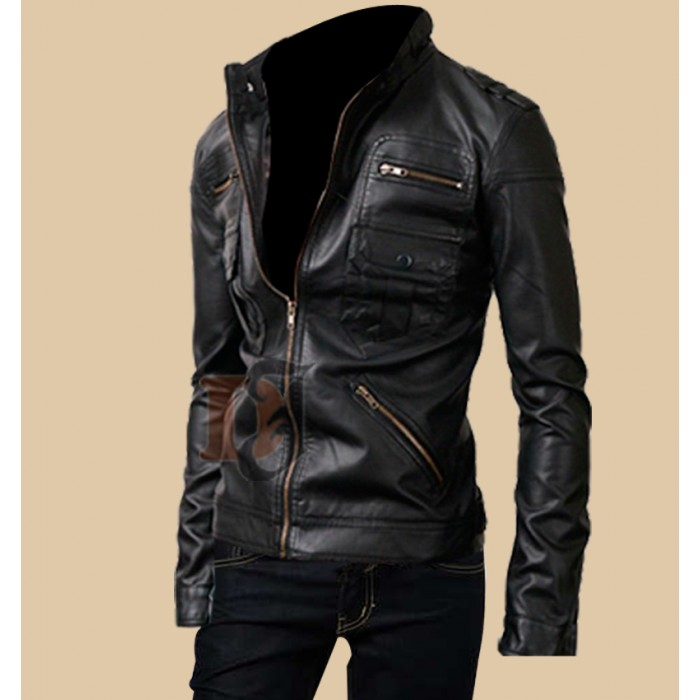 Buy Rider Black Zipper Pocket Leather Jacket For Men