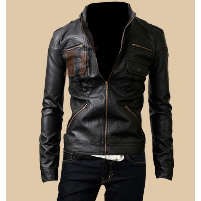 Rider Black Zipper Pocket Leather Jacket For Men | Black Leather Jacket