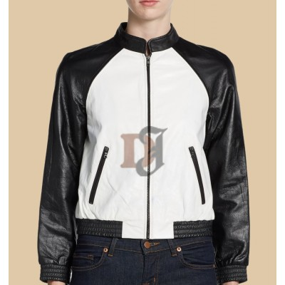 Alice And Olivia Black And White Leather Jacket | Women Distressed Jackets