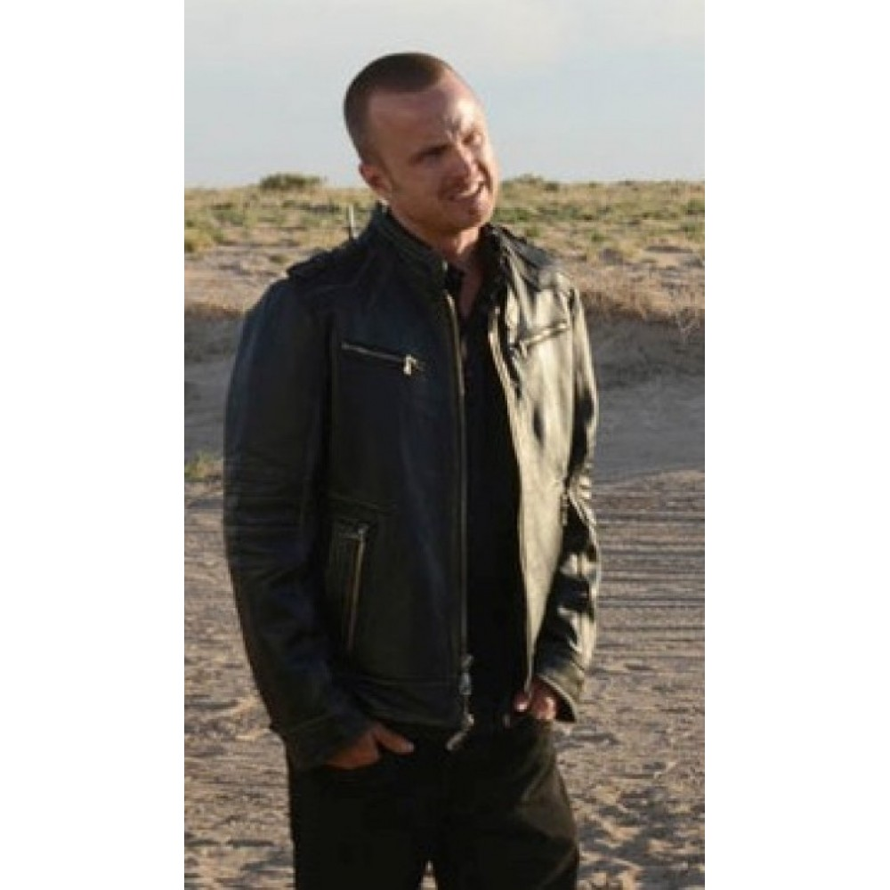 Breaking Bad Aaron Paul Black Leather Jacket | Movies Jackets