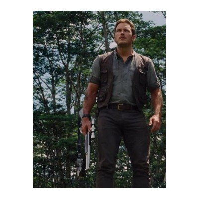 Jurassic World Chris Pratt (Owen) Motorcycle Vest | Distressed Jackets