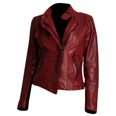 Andrew Marc Wynter Asymmetrical Zip Leather Motorcycle Jacket