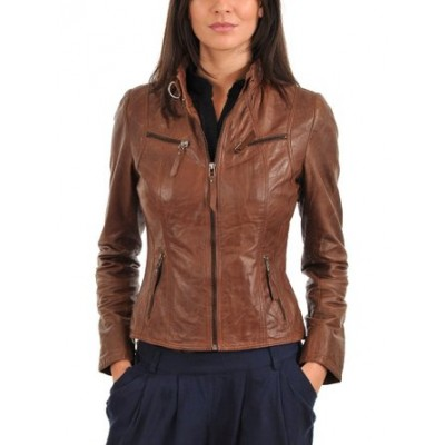 passionleather Womens Genuine Lambskin Motorcycle Leather Jacket