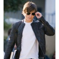 17 AGAIN Black Wrinkle Snap Tab Style Boys Leather Jacket | Movie Jackets