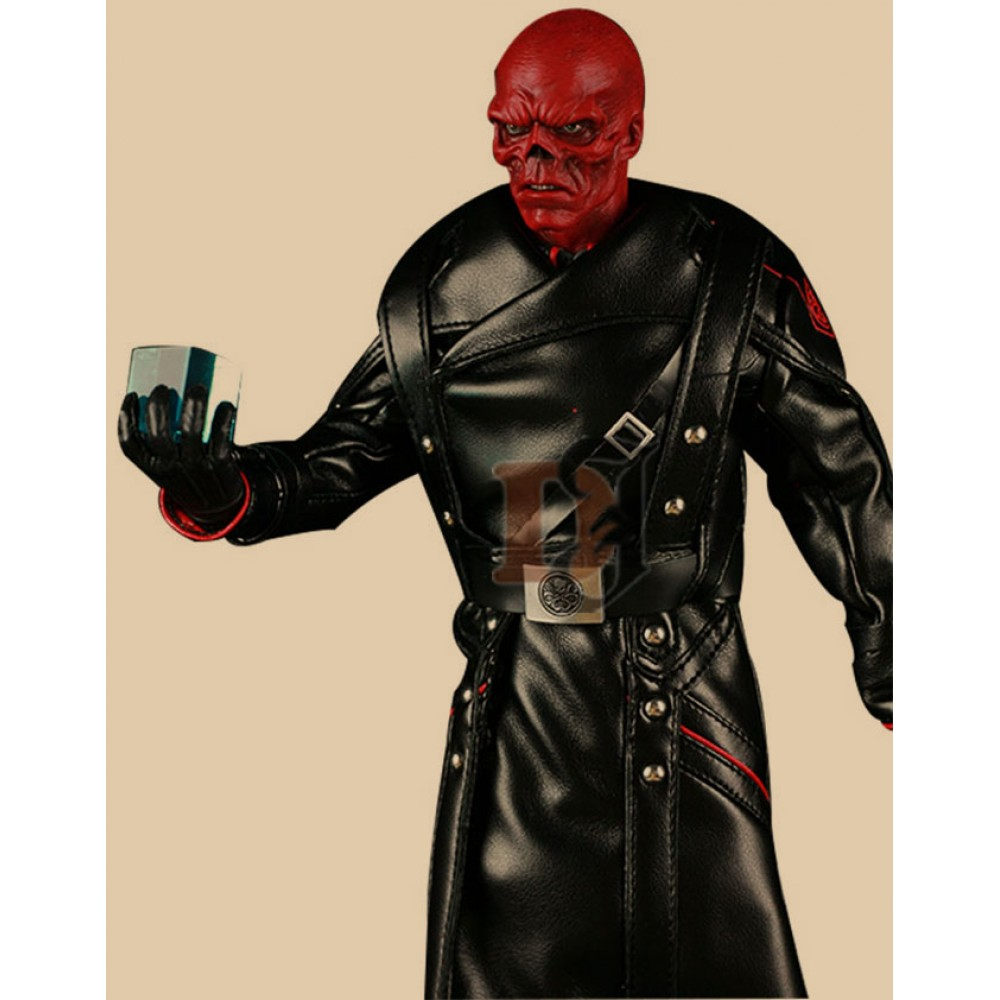 Captain America Red Skull Long Leather Jacket | Black Long Coat