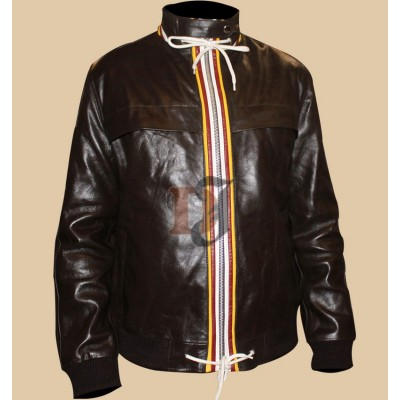 David Beckham At April Cipriani Brown Bomber Leather Jacket | Movies Jackets