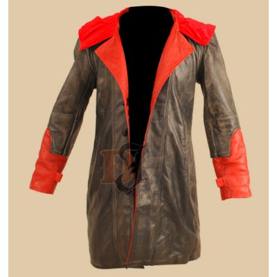 DMC Devil May Cry 4 Dante Costume Hooded Leather Coat Jacket  | Leather Costumes