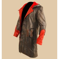 DMC Devil May Cry 4 Dante Costume Hooded Leather Coat Jacket    Leather Costumes