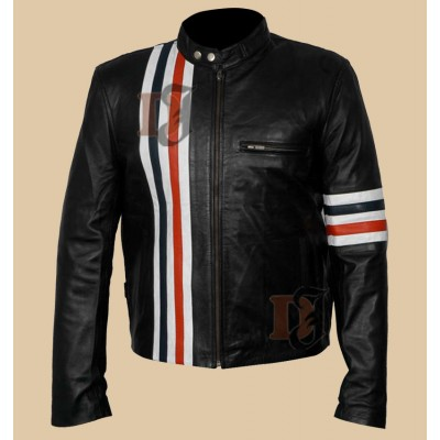 Easy Rider Peter Fonda Motorcycle Black Skin Leather Jacket
