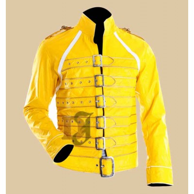 Freddie Mercury Concert Queen Strap Yellow Leather Jacket | Celebrities Jackets