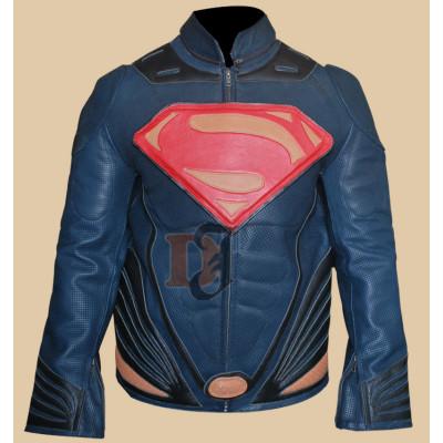Man Of Steel Superman Costume Leahter Jacket
