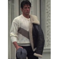 Bomber Style Rocky Balboa Real Leather Faux Shearling  Jacket - Rocky 4 Balboa Jacket