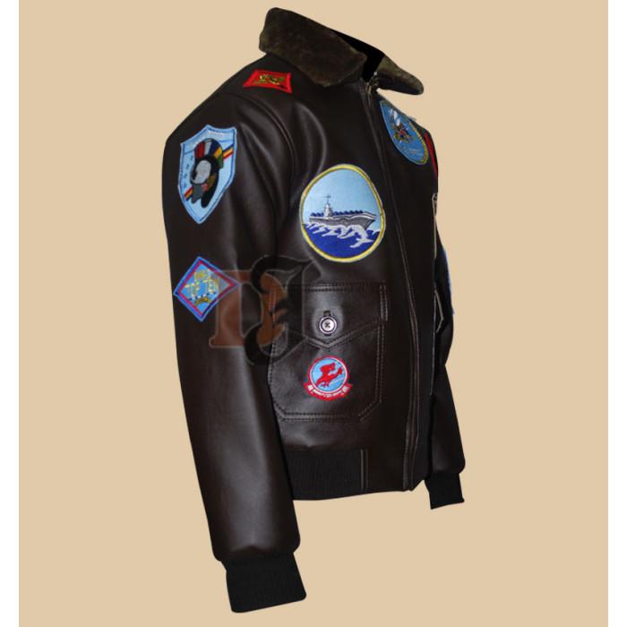 e35c04dda3b ... Tom Cruise Bomber Top Gun Patches Flight Jacket