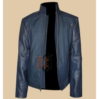 The Winter Soldier Captain America Chris Evans Blue Leather Jacket | Blue Leather Jacket