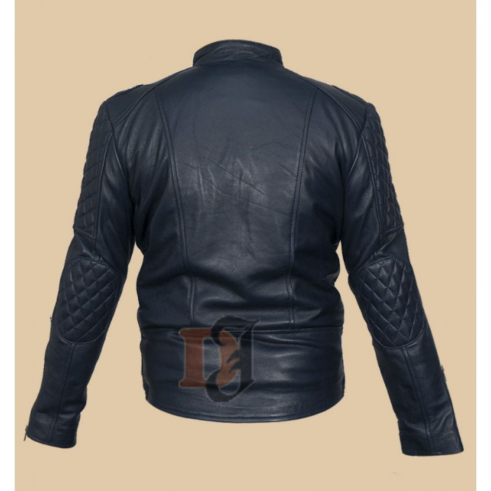 d476186d9 Brando Classic Quilted Men's Motorcycle Jacket   Blue Leather Jacket
