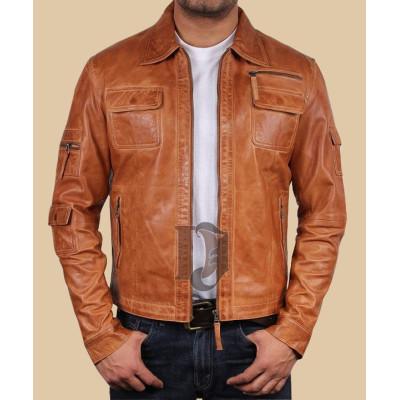 Men's Leather Biker Jacket | Distressed brown Leather Jackets