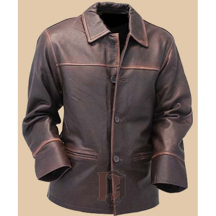 Men's Vintage Brown Long Leather Jacket