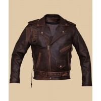 Mens Brando Biker leather Jacket | Distressed Jackets