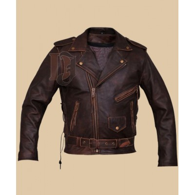 Mens Brando Biker leather Jacket