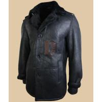 Mens Classic Vintage Black Leather coat | Faux Shear ling Coat