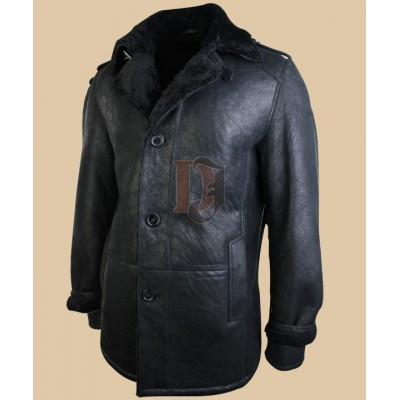 Mens Classic Vintage Black Leather coat | Faux Shear ling Coat