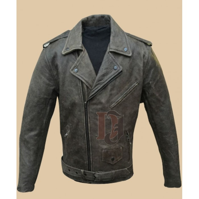 Mens Distressed Brown Motorcycle Jacket