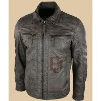 Mens Grey Real Leather Jacket