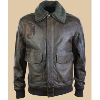 Mens Real Leather Bomber Fur collar Jacket