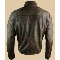 Mens Smart Casual High Collar Brown Leather Jacket