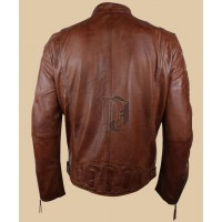 Mens Style Zipped Biker Jacket | Distressed Leather Jackets