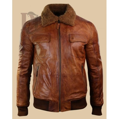 Mens Tan Brown Fur Collar Jacket