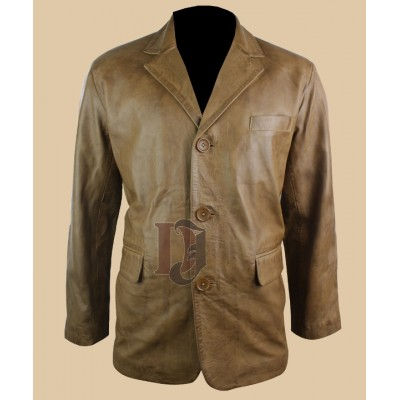 Mens Tan Brown Smart Casual Leather coat