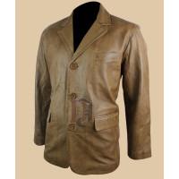 Mens Tan Brown Smart Casual Leather coat