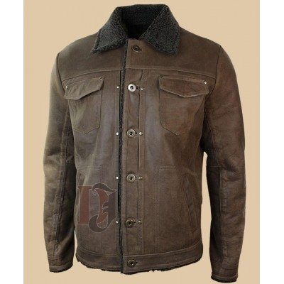 Men's Tan Brown Leather Jacket | Tan Brown Distressed Leather Jacket