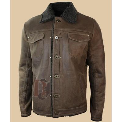 Men's Tan Brown Leather Jacket | Tan Brown Distressed Leather Jacket
