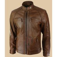Men Tan soft Leather Jacket